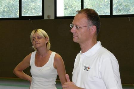 Die zweifache Olympiasiegerin Anja Fichtel und WHF-Geschäftsführer Steffen Schoch