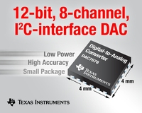 TI's 12-bit, 8-channel, I2C-interface DAC  targets multi-channel, high-density applications