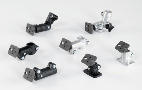 Sieben neue Rohrverbinder mit integriertem Kugelgelenk in Baugröße 18 ergänzen das Produktprogramm von RK Rose+Krieger – drei aus Aluminium und vier aus Kunststoff Bild: RK Rose+Krieger