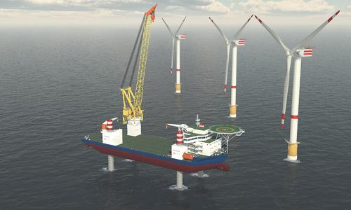 GLC-800-ED crane on a Wind Turbine Installation jack up vessel