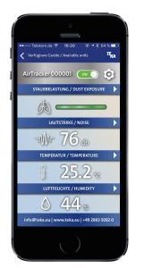 Überall und jederzeit abrufbar - die Aitracker-App zeigt die Staubbelastung, Lautstärke, Raumtemperatur und Luftfeuchtigkeit mit aktuellen Werten an