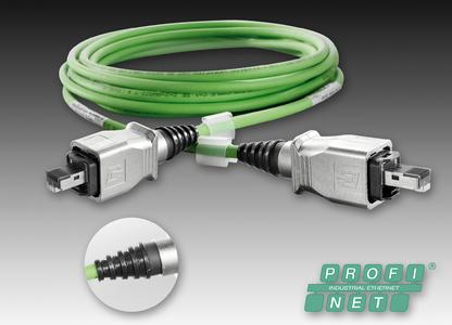 Weidmüller's IE cable for PROFINET: moulded industrial Ethernet cables with PushPull connectors offer a reliable connectivity solution for industrial applications. Detail: the innovative moulding technique ensures reliable protection against manipulation, effective anti-kink protection as well as excellent strain and bend relief