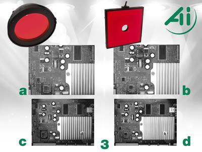 Abb. 3: 3a Leiterplatte, DL9160, Dome, rot 3b Leiterplatte, FD0808, flach diffus, rot 3c Leiterplatte, DL9160, großer Arbeitsabstand 3d Leiterplatte, FD0808, großer Arbeitsabstand