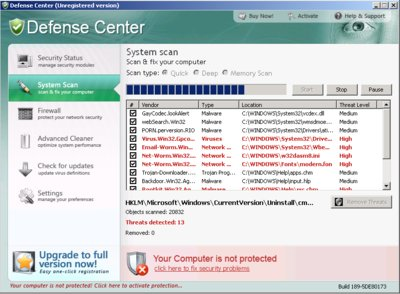 Screenshot: Defense Center