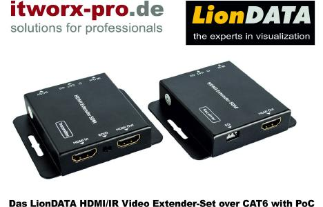 LionDATA HDMI/IR Video Extender-Set over Cat6 with PoC