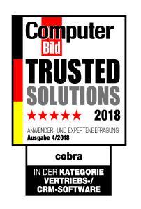 """cobra CRM wurde von der COMPUTER BILD als """"Trusted Solution"""" ausgezeichnet"""