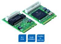 M2-2213 und M2-225: M.2 Erweiterungskarten für FireWire und Gigabit Ethernet