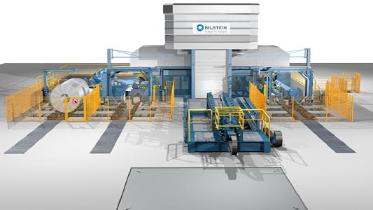 Illustration of the concept for the new combined reversing cold rolling and skin-pass mill for BILSTEIN