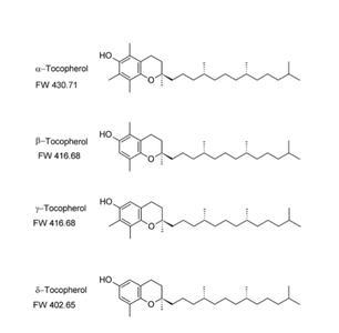 Fig. 1 DieTocopherolisomere – α, β, γ, δ – sind Derivate des Chromans und unterscheiden sich durch den Grad der Methylierung in den Positionen 5 und 7 des Chromansystems.