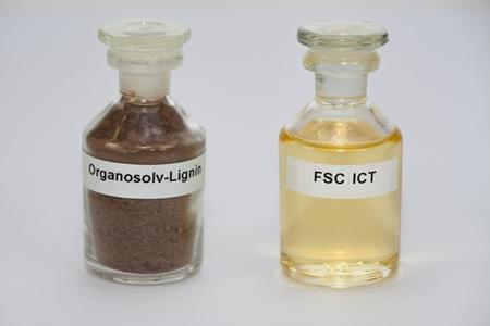Typical feedstock organosolv-lignin developed by the Fraunhofer Institute for Chemical Technology ICT (a natural material containing polyaromatic compounds), and the mixture of aromatic hydrocarbons obtained from this feedstock using the fluid salt cracking (FSC) process