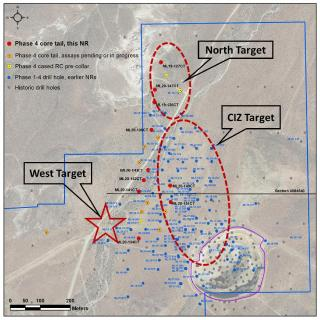 Figure 1. New drill hole location map, Mother Lode Project, Nevada, New section location