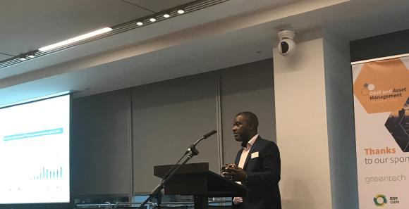 Yaw Ofori speaking at O&M and Asset Management conference in london
