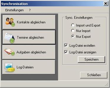 Benutzeroberfläche zubIT-OutlookSync Client