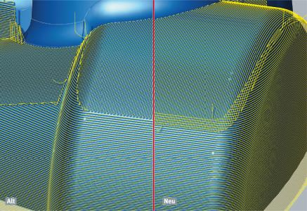 """Optimale Oberflächen in Übergangsbereichen mit der Funktion """"Sanftes Überlappen"""", Bildquelle: OPEN MIND"""