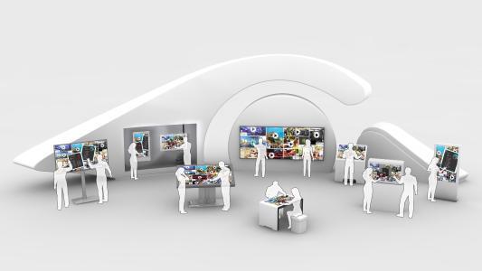 Mit Multitouch-Displays und der individuell abgestimmten Software wird Shoppen zu einem neuen, interaktiven Erlebnis. (c) 3M