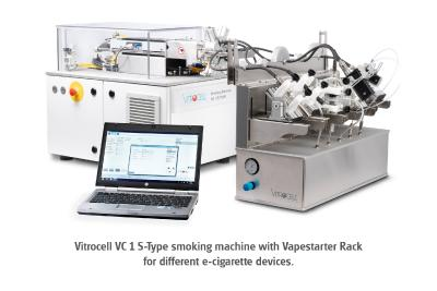 Photo 2: Vitrocell VC 1 S-Type smoking machine with Vapestarter Rack for different e-cigarette devices.