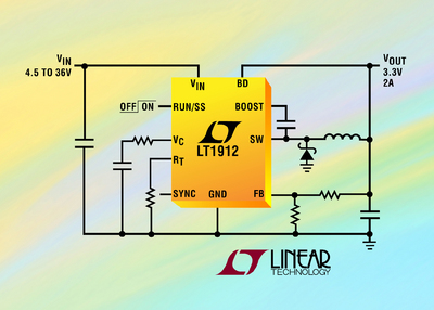 36V, 2A(IOUT), 500kHz Step-Down DC/DC Converter in 3mm x 3mm DFN