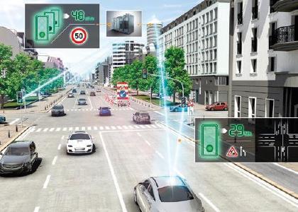 """Wenn das Fahrzeug mit der Umgebung kommuniziert: Intelligente Leitsysteme und """"smarte"""" Ampeln sorgen für optimierten Verkehrsfluss und weniger Konfliktsituationen im Straßenverkehr"""