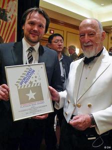 Mikko Stübner-Lankuttis (l) received the awards at WorldFest Houston 2013 on behalf of all DW winners