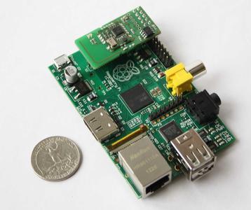 Raspberry Pi mit dem Z-Wave Aufsteckmodul (Raspberry Pi ist eine geschützte Marke der Raspberry Pi Foundation)