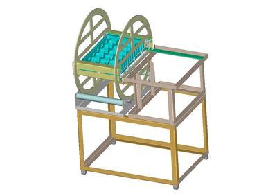 Um auch den Inhalt aus Warenträgern mit einem Gewicht über fünf Kilogramm kostensparend und kräfteschonend in Blister umzustülpen, wurde diese einfache aber effektive Dreheinrichtung entwickelt.