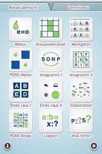 PONS Rätsel App Französisch Startseite