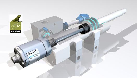 Micropulse Stab Wegmesssysteme messen direkt, integriert im Druckbereich des Hydraulikzylinders, die aktuelle Kolbenposition