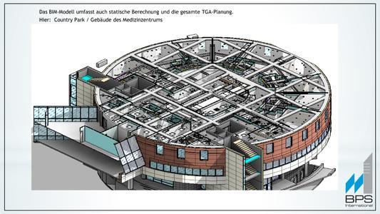 BIM Building Information Modeling - Das BIM-Modell umfasst auch statische Berechnung und die gesamte TGA-Planung. Hier:  BIM-Modell Country Park Clinic
