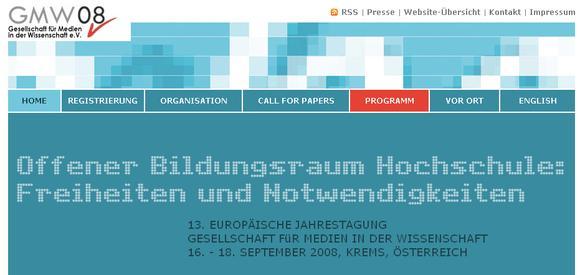 Tagungswebsite, Foto: Donau-Universität Krems