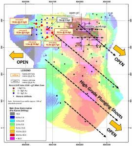 Figure 1: Gram X metre (Main Zone) longsection of Spargos Reward looking west