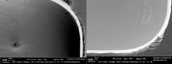 The best cleaning results were obtained on metal samples by combining wet-chemical cleaning (Fig. left) with CO2 snow-jet cleaning (Fig. right) / Photo: NMI