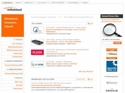 Screenshot der neuen Initiative Mittelstand Webseite