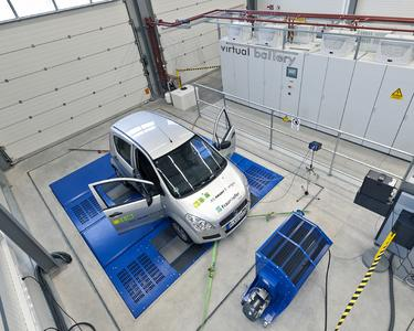 Elektrofahrzeug auf Rollenprüfstand mit virtueller Batterie im Test und Prüfzentrum für Elektromobilität IWES-TPE; Copyright: Fraunhofer IWES | Foto: Volker Beushausen