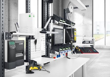 avero Einzelarbeitsplatz mit Schraubtechnik und Werkerführung sowie ergonomisch einstellbaren Ablagen