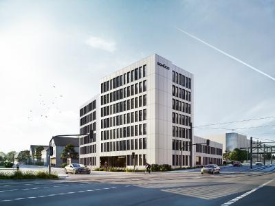 Das Bürogebäude Schüco Corporate Services an der Herforder Straße/Ecke Karolinenstraße erhält mit der Elementfassade AF UDC 80 ein klar strukturiertes und modernes Antlitz / Bildnachweis/Darstellung: tr.architekten