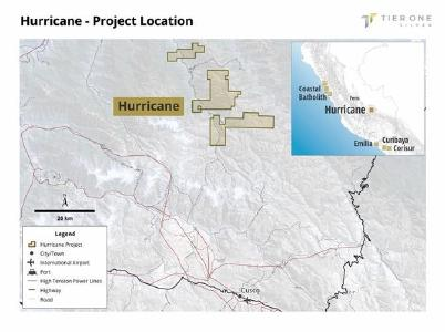 Figure 1: Illustrates the position of the Hurricane project in southeastern Peru approximately 60 km north of Cusco