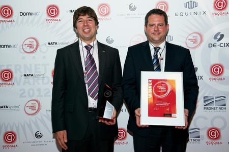 eco Internet Award 2012 Gewinner in der Kategorie IT-Infrastruktur: Ingo Kraupa, Vorstandsvorsitzender und Joachim Astel, Vorstand der noris network AG (v. l.)
