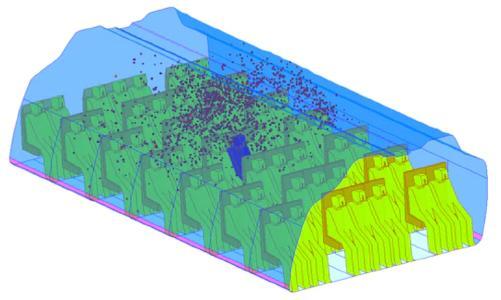 CFD Simulation (FLUENT) der Verteilung von Partikeln eines hustenden Passagiers in der Kabine einer Boeing 767 in einem Zeitraum von etwa 4 Minuten
