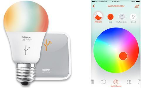 Osram LIGHTIFY-Starter-Set / Farbsteuerung der RGB-LED-Lampe via App
