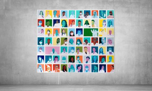 'Colours of Science': Hamburger Urban Pop Art Künstler Moritz Etorena (ArimaTribe) kreiert zusammen mit Starlab Kunstwerk aus Gesichtern der Forschungswelt
