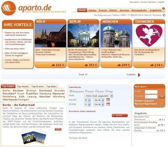 Neue Internetseite Aparto.de ermöglicht maßgeschneiderte Städtereisen mit einer Kombination aus Hotel, Event und Anreise