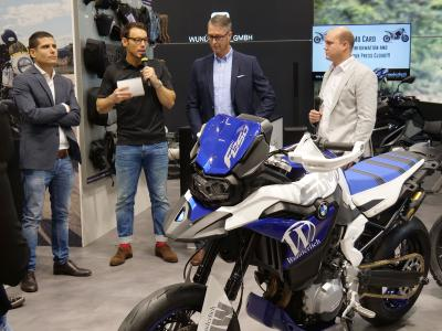 Wunderlich press conference at the EICMA 2018 left to right: Giuseppe Cappellotto (Head of Alpina Tubeless Wheels), Danijel Peric (Moderator), Frank Hoffmann (Wunderlich CEO), Felix Wunderlich (Authorized Officer / Head of Product Management and Development)