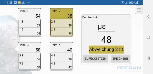 Die Sensormate-App zeigt übersichtlich die biegekompensierte Dehnung aller Holme und den Durchschnittswert der Dehnungen an