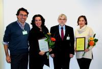vlnr: J. Jover (Preisträger 2017, Spanien), B. Schade (Preisträger 2017, Niederlande), Prof. Dr. Lerche (Geschäftsführer LUM GmbH), F. Bernal (Preisträger 2017, Spanien)