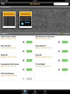 SAP BO Explorer (Business Objects) holt Absatz- und Vertriebsreport auf den iPad: Auf der REIFEN in Essen zeigten die SAP-Experten von cormeta wie einfach sich Daten aus Tradesprint jederzeit aktuell auf einem Tablet-PC anzeigen lassen; links eine Übersicht über diverse Reports, rechts ein Umsatzbericht auf dem iPad.
