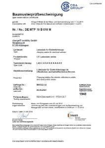 Baumusterprüfbescheinigung Ladesäule Online von chargeIT
