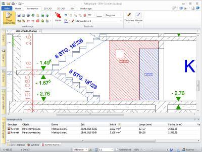 RxHighlight zeigt die Flächenmessung und Kommentierung an einer DWG-Datei