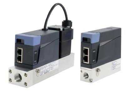 Die Massendurchflussmesser und -regler Typ 8741 und 8745 stellen alle gängigen Industrial Ethernet-Protokolle zur Auswahl bereit / Quelle: Bürkert