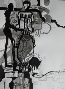 """""""Hochzeit von Manfred und Gabriela"""" – so der Titel dieser Tuschezeichnung von Monika Lang. Sie stellt bei der 51. WITTENSTEIN-Vernissage Bilder und Zeichnungen unter dem Titel  """"Mensch – Maschine – Raum"""" aus"""