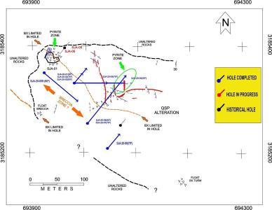 Figure # 1 – Location Map of Diamond Drill Holes and Geological Interpretation
